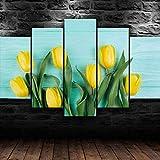 Lienzo de flores de tulipán amarillo, arte de pared, 5 piezas, impresiones en lienzo, moderno, HD, póster modular, imagen, pinturas en lienzo, decoración de la sala de estar, 150Cm × 80Cm