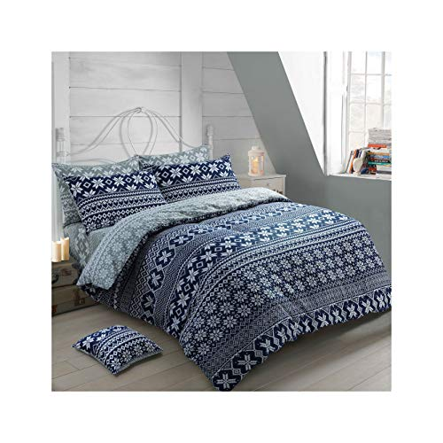 ShawsDirect Nordic 100% Brushed Cotton Reversible Quilt/Duvet Cover Set (Navy, Single)