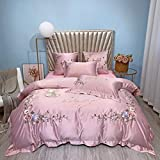 BERTERI Luxury Washed Silk Bedding Set Korean Style Princess Embroidered 4-Pieces Duvet Cover Set Queen King Size Girls Bedroom Decor