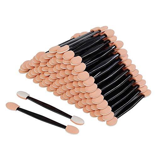 Lot de 100 éponges pour fard à paupières, applicateurs de maquillage et eyeliner, jetables, double face, éponge ovale, outil de beauté