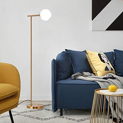 DESLP Classic Gold Stehlampe, E27 Fassung Metall Stehleuchte mit Glas Lampenschirm, Kabelschalter, 3000K Warmweiß Licht, Moderne Standleuchte für Wohnzimmer, Schlafzimmer