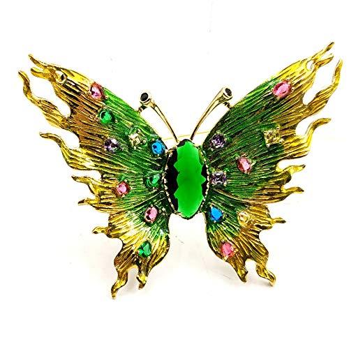 DREAMLANDSALES Increíble tono dorado metálico artesanía y colorido CZ manchado verde mariposa broche broche joyería insectos