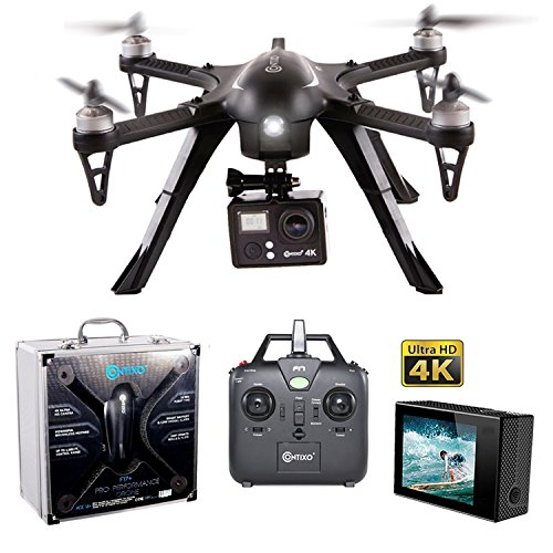 Contixo F17 RC Quadcopter Photography Drone 4K Ultra HD Camera 16MP, Brushless Motors, 1 High Capacity Battery, Supports GoPro Hero Cameras, Alum Hard Case