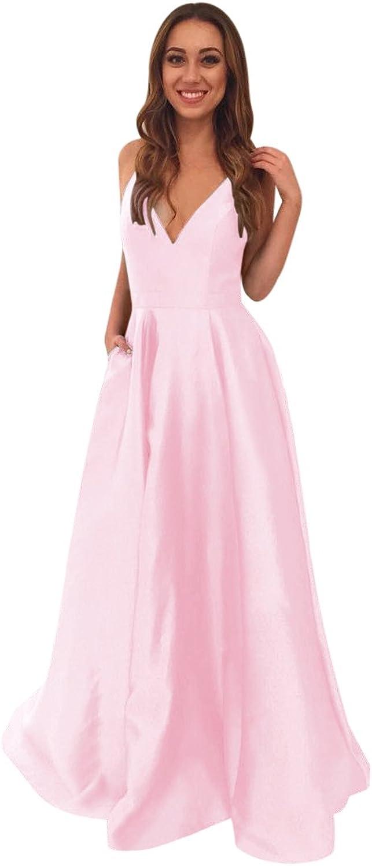 Harsuccting Deep VNeck Spaghetti Straps Long Satin Prom Dress with Pockets