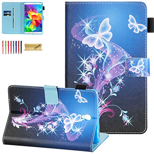 Dteck Case for Samsung Galaxy Tab S 8.4 SM-T700 2014 Model - Slim Fit Folio Stand Premium PU Leather Protective Case with Card Holders Wallet Cover for SM-700/SM-T705, Purple Butterfly