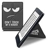 kwmobile Carcasa Compatible con Kobo Nia - Funda magnética de Origami para e-Book - Don't Touch my E-Reader Blanco/Negro