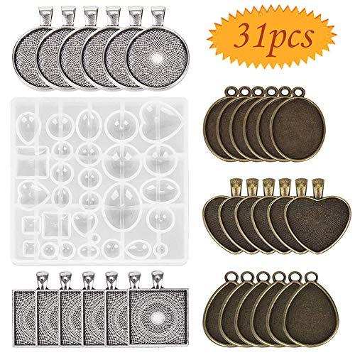 Bluesees - Set di 30 vassoi per ciondoli, 5 stili (rotondi, quadrati, a cuore, a goccia, ovali) e 1 stampo in resina per creazioni di gioielli fai-da-te