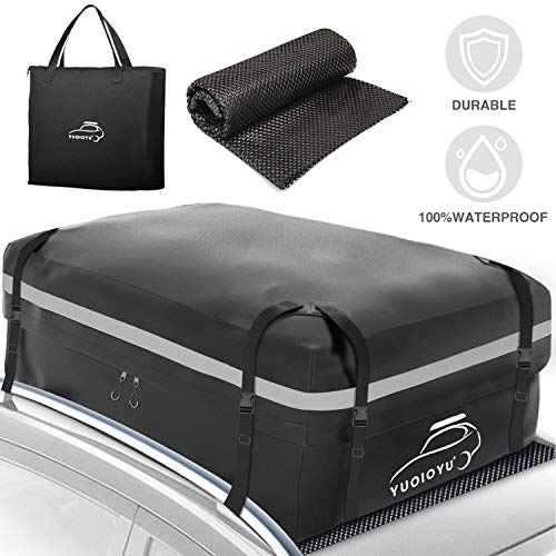 YUOIOYU Car Roof Bag Cargo Carrier 15 Cubic Feet Waterproof Car Top Carrier Roof Bag for All Cars,...