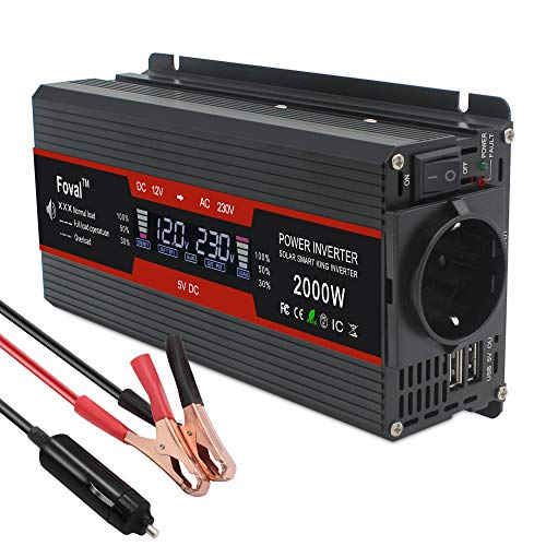 Cantonape 800w/2000w Inversor de Corriente Coche Onda modificada 12v a 220v 230v Transformador Enchufe EU, Dual USB con Pantalla LCD Monitor para Coche, Caravana, Barco, cámping