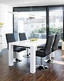 Esstisch-Gruppe weiß Hochglanz 160x90 cm recht-eckig mit 4 Lio Kunst-Leder Stühlen | Luca | Essgruppe Weiss mit 4 schwarzen Stühlen | Designer Tischgruppe mit ESS-Tisch weiß lackiert 5...