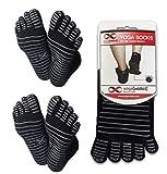 Calcetines antideslizantes para yoga con la forma de los dedos de la marca YogaAddict, Black (Grey Grippy Lines) - 2 Pairs