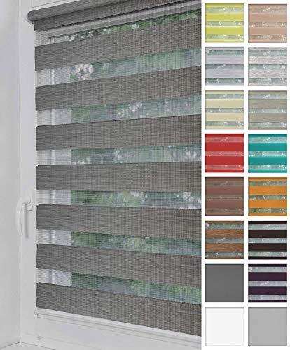 Home-Vision® Duo Rollo Klemmfix, Doppelrollo ohne Bohren mit Klämmträgern, Rollos für Fenster und Türen (Grau-Melange, B75cm x H220cm)