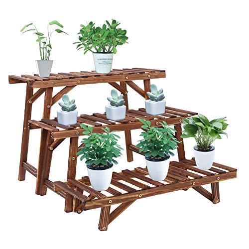 Unho scaffale per piante da interno, porta fiori da interno a 3 livelli portavasi da balcone legno...