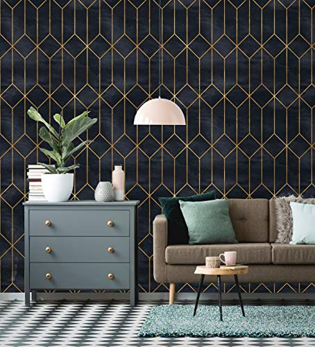 Removable Wallpaper | Peel and Stick Geometric Wallpaper | Self Adhesive Art Deco Wallpaper | Vintage Wallpaper (Sample 12' x 24')