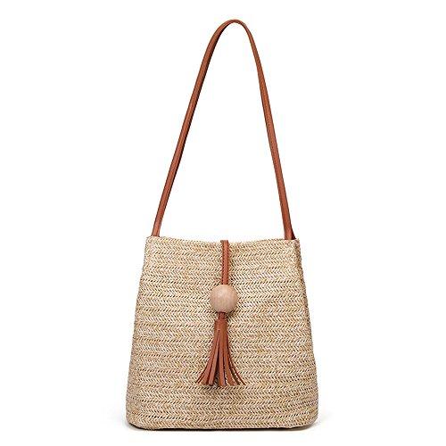 Why Choose Leaf2you Womens Shoulder Bag Handle Handbag Hand-woven Beaded Tassel Pendant Weaving Bags...