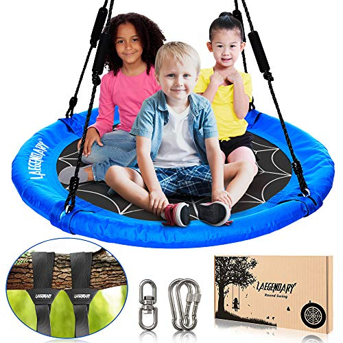 40 Inch Flying Saucer Tree Swing for Kids - Round Indoor Outdoor Swingset Toys - 700 Lbs Sensory Web Tire Swings - Durable Frame, Waterproof Yard Swings Set - 2 Tree Straps, 2 Carabiners, 1 Swivel