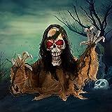 JOYIN Halloween Animated Zombie Groundbreaker Decoration, Light-up Skeleton Zombie Groundbreaker Prop with Creepy Sound for Halloween Outdoor, Lawn, Yard, Patio Decoration, Haunted House Decorations