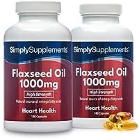 Aceite de Linaza 1000mg - ¡Bote para 1 año! - 360 Cápsulas - SimplySupplements