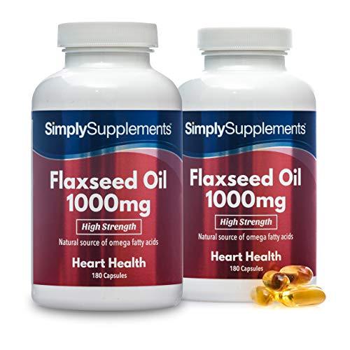Huile de Lin 1000mg |180 Gélules |Excellente alternative aux huiles de poisson |Jusqu'à 4 mois de bienfaits | SimplySupplements [Lot de 2]