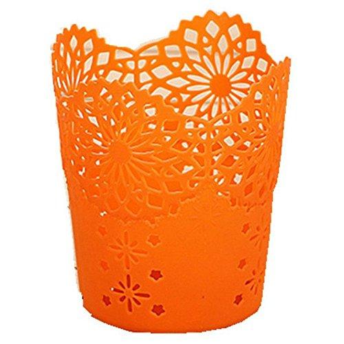 Cuasting Portalápices redondo de plástico para almacenamiento de lápices, papelera de encaje hueco para escritorio (naranja)