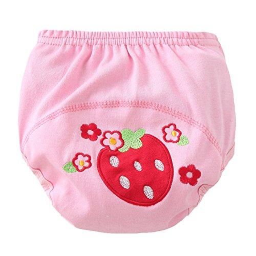 T TOOYFUL Bébé Garçons Filles Lavable Toilette Pantalon De Formation Nappy Sous-Vêtements Couche En Tissu - fraise, 80 (11 kg)