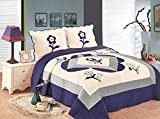 WPM Velvet Quilt Set Reversible Suede Bedspread Full/Queen Size Bed Bedding Coverlets Cover with Pillow Cases (Navy Blue/Beige H)