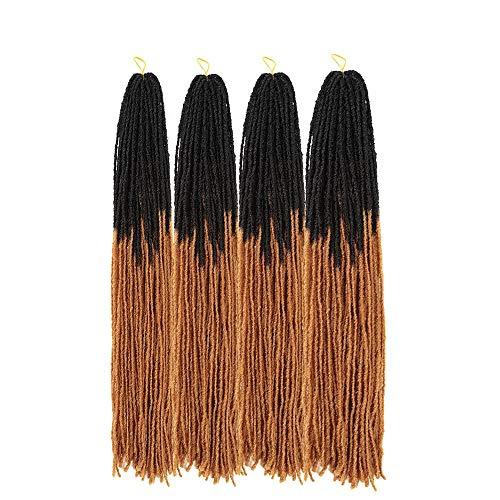 Ali Show 18inch Sister Locks Crochet Braids 54roots/pack Micro Faux Locs Crochet Hair Mini Dreadlocks Afro Twist Braids Syntehtic Hair Extension 4pack/lot (18inch, T1B/27)