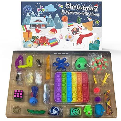 WBTY Juego de juguetes sensoriales, calendario de cuenta regresiva, juguete de calendario de Adviento sensorial, juguete para aliviar el estrés para niños