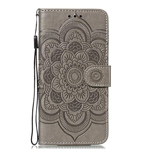 GIMTON Stoßfest Hülle für Galaxy Note 10 Plus, Brieftasche Klapphülle mit Geldfach und Kartenfach, Premium Magnetischen PU Leder für Samsung Galaxy Note 10 Plus, Grau