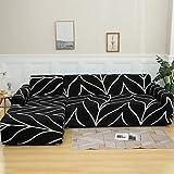 NIBESSER Funda de sofá con chaise longue elástica de 2 piezas, funda de sofá en forma de L, lavable, fundas para sofá esquinero para salón con motivos modernos (líneas blancas, 2 plazas + 2 plazas)