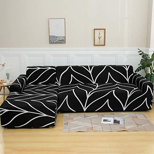 NIBESSER - Funda elástica para sofá de 2 piezas esquinero con chaise longue en forma de L, lavable, con motivos modernos, para salón (Líneas blancas, 2 plazas + 2 plazas)