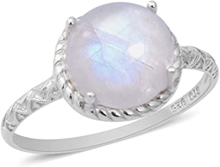 Solitaire Ring 925 Sterling Silver Round Rainbow Moonstone Jewelry for Women Size 10 Ct 3.8