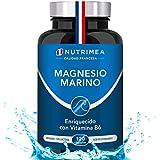 Magnesio Marino con Vitamina B6 | Alivio Calambres Cansancio Fatiga Potente Suplemento Articulaciones Huesos Piel Energía Deportistas | 120 cápsulas Cura de 4 Meses |Hasta 300mg/día Hecho en Francia