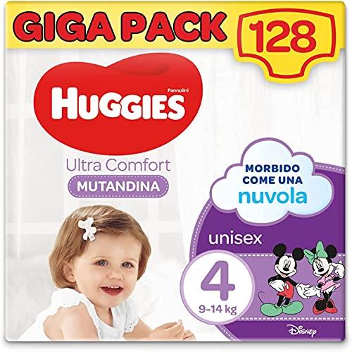 Huggies Ultra Comfort Pannolini Mutandina, Taglia 4 (9-14 Kg), Confezione da 128 Pannolini Mutandina