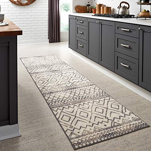 Maples Rugs Abstract Diamond Modern Distressed Non Slip Runner Rug For Hallway Entry Way Floor Carpet [Made in USA], 2'6 x 10, Neutral