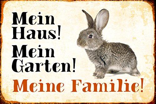 Schatzmix Blechschild Kaninchen Mein Haus! Mein Garten! Metallschild Wanddeko 20x30 tin Sign