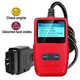 Escáner OBD2, lector de código OBDII comprobador de códigos de avería de coche, lector de códigos de diagnóstico de coche, herramienta de escáner de automoción todos EOBD/OBD II Protocolo de coche