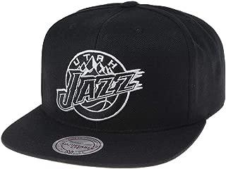 Mitchell & Ness Utah Jazz 18121 Wool Solid Black White Snapback Cap Kappe Basecap