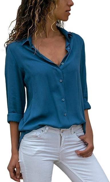 Blusa de Mujer Manga Larga Casual Color sólido Blusa Camisa ...