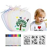 LLGL-EU Baby Lätzchen zum Bemalen, 8 Stücke DIY Weiß Wasserdicht Sabber Lätzchen mit 12 Textilstiften & 3 Malen Schablonen für Babyshower Party (Weiß)
