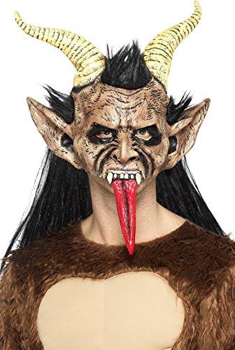 Smiffys 47074 Beast / Krampus Demon masker, bruin, eenheidsmaat