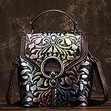 N-B Retro Style Ladies Borse, Borse, Borse diagonali, Zaini, Pelle bovina tridimensionale goffrata diagonale piccole borse