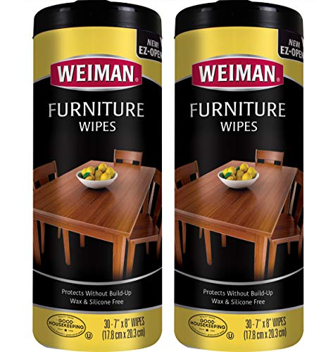 Weiman Wood Cleaner and Polish Wipes - 2 Pack - Non-Toxic for Furniture to Beautify and Protect, No Build-Up, Contains Ultra Violet Protection, Pleasant Scent, Surface Safe - 30 Count