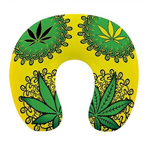 Premium Reisekissen Superweiche U-förmige Memory Foam Neck Kissen Kopf Kopf Kissen Kissenstütze Rest im Freien Car Office Home Travel - Grün Marihuana Weed Leaf Yellow