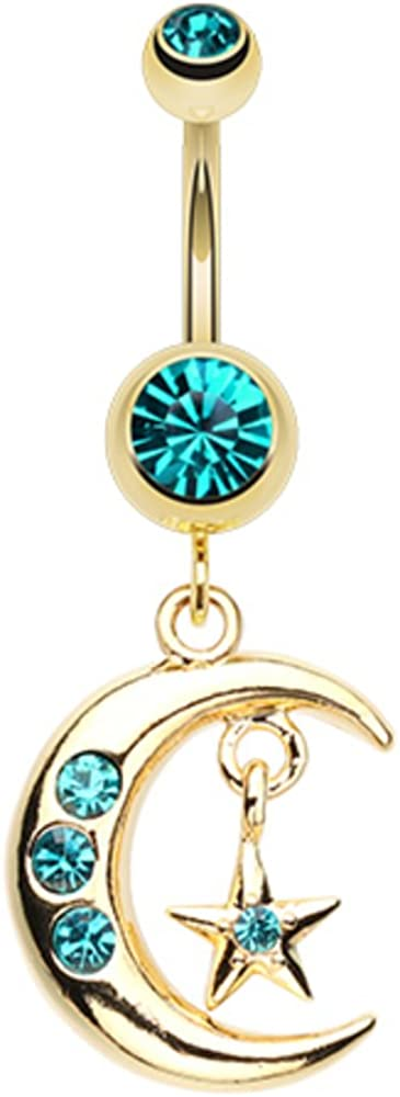 WildKlass Jewelry Golden Moon and Star 316L Surgical Steel Belly Button Ring