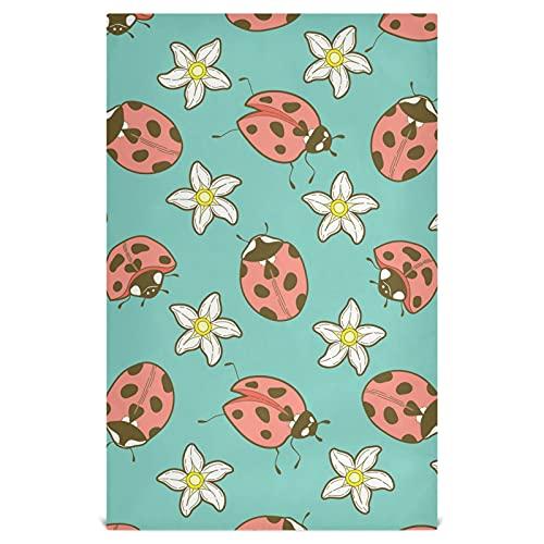 Naanle Daisy Flower Ladybug Toallas de cocina Paquete de 6 paños de limpieza reutilizables absorbentes de secado rápido toallas de mano Toallas de té Toallas de bar para el hogar 71 x 45 cm