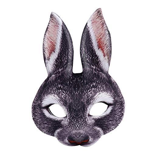 Mscara de conejo divertido para fiesta de Pascua, disfraz de adulto de animal y media mscara (negro)