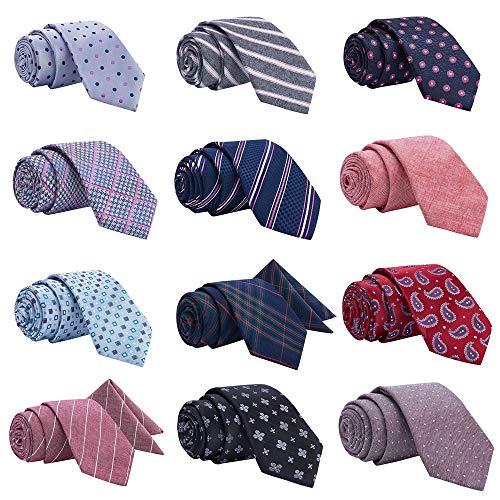 Men's Ties,Tsheoul Noted Lot 12 PCS Classic Cotton Plaid+Printed Floral+Pure Color+Striped Skinny Necktie & 2 PCS Pocket Square - Multiple Sets (2.5'+12 pcs+Square-03)