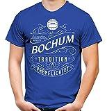 Mein Leben Bochum Männer und Herren T-Shirt | Fussball Ultras Geschenk | M1 Front (XL, Blau)