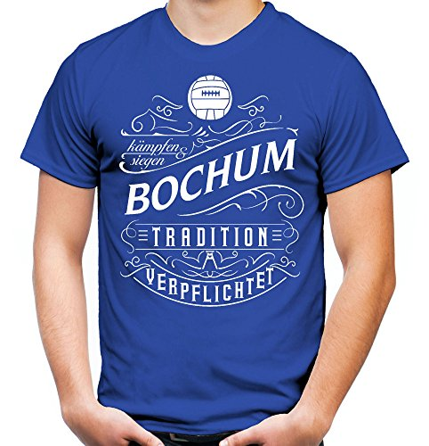 Mein Leben Bochum Männer und Herren T-Shirt | Fussball Ultras Geschenk | M1 Front (M, Blau)